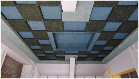 天花板用木丝吸音板二级吊顶加中间小藻井