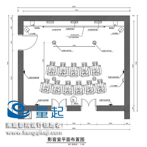 北京四季青将军楼影音室平面布置图